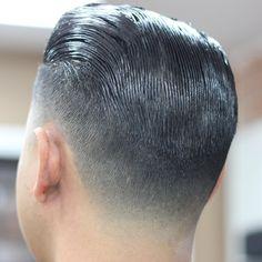 Taper close up Short Slicked Back Hair, Short Hair Cuts, Slicked Hair, Short Hair Styles, Slick Hairstyles, Classic Hairstyles, Hairstyles Haircuts, Fashion Hairstyles, Slick Back Haircut