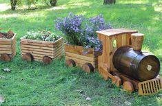 Train, Flowers, Park, Outdoors, Garden, Summer