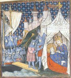 14th century / medieval tent ( manuscript : BL Royal 20 C VII Chroniques de France ou de St Denis, Folio 1, 1380-1400, France )