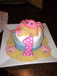 Crab 1st birthday cake for girls! Easy to make!!!
