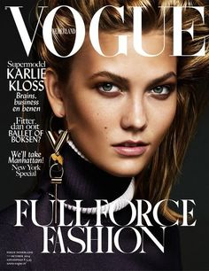 Karlie on Vogue Netherlands--Landing her very first Vogue Netherlands cover, Karlie Kloss flaunts one earring and a side-swept hairstyle on the magazine's: