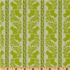 garden of delights squirrely stripe green...cute for toy bags