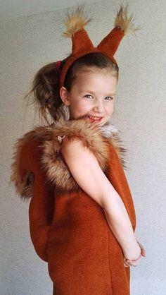 Red Squirrel girl costume dress headband tail/ Kids red squirrel Costume/red squirrel dress up/ handmade costume