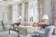 """A pastel living room using the Bennison """" Montecito"""" as inspiration for this Florida Residence, by Jane Ellsworth Interiors."""