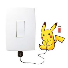 Wall paint designs, Kids room wall art, Simple wall paintings, Wall art diy paint, Diy wall decor, Diy wall painting - Adesivo de Parede Pikachu Recarregando Interruptor -  #Wallpaint #designs