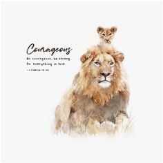 "Scripture wall art of the Bible verse 1 Corinthians ""Be courageous, be strong. Do everything in love."" A fine art print featuring a watercolor illustration of a lion and his cub. The artwork is the perfect gift for fathers who love the word of God. Scripture Wall Art, Bible Verse Art, Bible Scriptures, Christian Artwork, Christian Quotes, Art Journaling, Identity In Christ, Word Of God, Drawing"