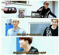 Chicken, not his style. Bbq intestines, not his style. lol suho finally snaps!! EXO Showtime Ep.8