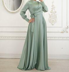 Hijab Evening Dress, Hijab Dress Party, Tie Dress, Modest Dresses, Satin Dresses, Simple Dresses, Abaya Fashion, Muslim Fashion, African Fashion Dresses