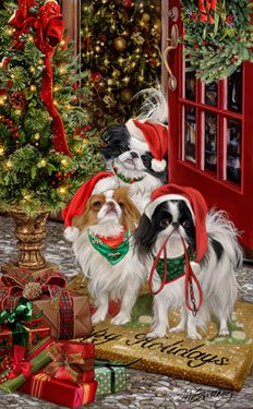 "New for 2013! Japanese Chin Christmas Holiday Cards are 8 1/2"" x 5 1/2"" and come in packages of 12 cards. One design per package. All designs include envelopes, your personal message, and choice of greeting. Select the inside greeting of your choice from the menu below.Add your custom personal message to the Comments box during checkout."