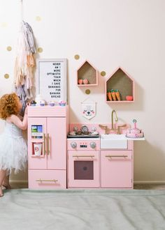 Pink Play Kitchen For Any Little Lady Playroom Organization, Playroom Decor, Nursery Decor, Toddler Christmas Gifts, Toddler Gifts, Pink Play Kitchen, Play Kitchens, Toddler Playroom, Toddler Bed