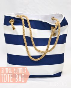 Create a simple summer tote bag with rope handles. #Totebag #diy #sewing #nautical