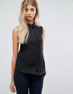 ASOS Sleeveless Black Shirt - Black
