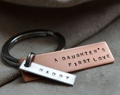 Long Dad Keychain  Father Daughter  Mixed Metal by ThoughtBlossoms, $24.00