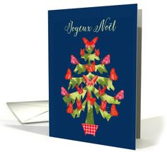 Joyeux No�l, Merry Christmas in French, Tree with butterfies card