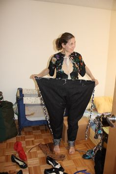 Susan Cianciolo and a pair of pants she designed, inspired by pants men wear in Pakistan!