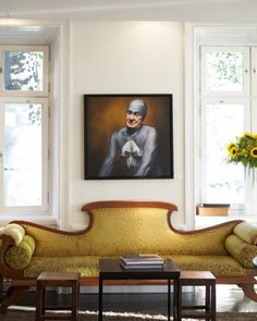 Relax and have a seat! Andreas Englund's Strangling hangs over a couch in the lobby of the Lydmar Hotel, a favorite of artists passing through Stockholm.