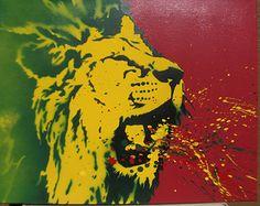 Rasta Lion Sneezy Splatter - Spray Paint stencil art on canvas