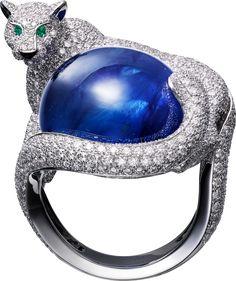 Ring - platinum, one sapphire from Burma, emerald eyes, onyx, brilliant-cut diamonds. Cat Jewelry, Animal Jewelry, Jewelry Art, Antique Jewelry, Vintage Jewelry, Fine Jewelry, Fashion Jewelry, Gold Jewellery, Planet Jewelry
