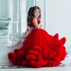 Red Dresses For Kids, Cute Baby Dresses, African Dresses For Kids, Kids Dress Wear, Princess Flower Girl Dresses, Princess Ball Gowns, Little Girl Dresses, Girls Dresses, Kids Wear For Girls