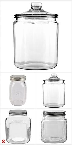 Top one glass only. 2 Gallon and need 2 jars Target sells it and others Kitchen Pantry Design, Kitchen Organization Pantry, Cute Kitchen, Pantry Storage, Jar Storage, Interior Design Kitchen, Food Storage, Kitchen Decor, Apothecary Jars