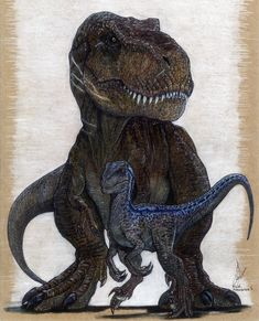 Blue and Rexy, Jurassic Word original artwork prints.