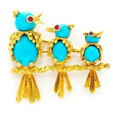 A Turquoise, Ruby and Gold Bird on a Branch Brooch, by Van Cleef & Arpels, circa 1965