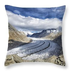 Throw Pillow - Great Aletsch Glacier (Aletschgletscher) Swiss Alps Switzerland Europe. All throw pillows are available in multiple sizes. (c) Matthias Hauser hauserfoto.com