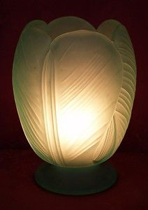 ART DECO GREEN GLASS TULIP VASE LAMP - ORIGINAL TORPEDO SWITCH & FITTINGS