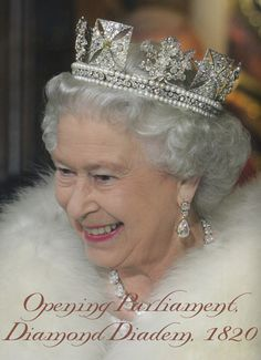 HM Queen Elizabeth II wearing her George IV Diamond Diadem as she does on her procession to Westminster for each Opening of Parliament.