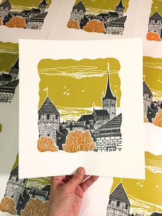 Linocut original small print with old European city scape view. Old Tallin. One layer linocut print Limited edition of 30 Paper size 25 x 28 cm Paper 200 - Linocut european city scape print old Tallin autumn scene Linocut Prints, Art Prints, Block Prints, Autumn Scenes, Linoprint, Art Lessons, Printmaking, Screen Printing, Illustration Art