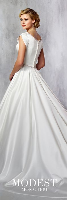 0fdff60c16ca Conservative Cap Sleeve Satin Wedding Dress with Pearl Beading