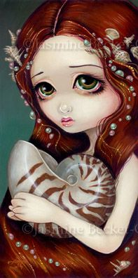 Mermaid Art: Nautilus Princess - Big Eye Lowbrow Art by Jasmine Becket-Griffith - www.strangeling.com
