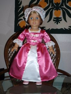 Colonial Gown and RoundEared Cap for by alohagirldollclothes, $31.25