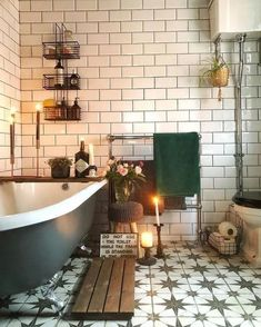 New stylish Bohemian home decor and design ideas - New stylish Bohemian . New stylish Bohemian home decor and design ideas – New stylish Bohemian home decor and design ide Cozy Bathroom, Bathroom Ideas, Bathroom Goals, Bathroom Vintage, Rustic Bathrooms, Metro Tiles Bathroom, Bohemian Bathroom, Small Bathrooms, Small Bathroom With Bath