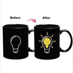 Negro caliente calor frío de color sensible al cambio de taza de agua de la taza de té de la batería mágica divertida