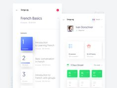 A quick concept work for a language learning app. Tried to follow the trendy style by @Wojciech Zieliński  I really loved the simplicity of your kit. :D   See the full views attached.