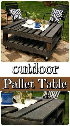 DIY Wood Pallet Outdoor Table – perfect for your patio… DIY Wood Pallet Outdoor Table – perfect for your patio… Diy Wood Pallet, Wooden Pallet Projects, Wooden Pallets, Wooden Diy, Diy With Pallets, Diy Projects Out Of Pallets, Coffee Table Pallet Diy, Ideas For Wood Pallets, Table From Pallets