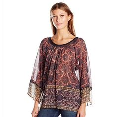 Anthropologie Tracy Reese Top Boho Peasant Blouse Floral Print Semi-Sheer Large #TracyReese #Blouse #Casual