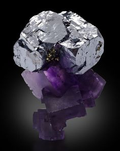 Fluorite with Galena and mircocrystals of Chalcopyrite Galena Denton Mine, Illinois