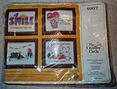 The Creative Circle Think Happy 4007 Embroidery Kit Includes 4 frames Frog Bunny #TheCreativeCircle