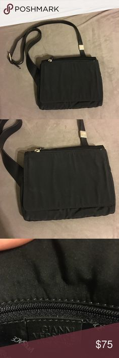 Versace - Small Black Bag Real Versace- Small Black bag shoulder bag. Has an interesting fit (see picture where I'm wearing). Got it as a gift. Has been previously loved but still in good condition. Versace Bags