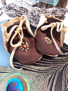 ddefa1de8ea Baby moccasins - handmade moccasins - infant mocs - hand beaded moccasins - baby  crib shoes -beaded toe Moccasins - ghost bead protection