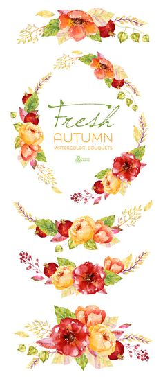 Fresh Autumn Bouquets & wreath. Handpainted watercolor