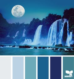 cool colors: blues are very cool soothing colors and that's what this waterfall represents.