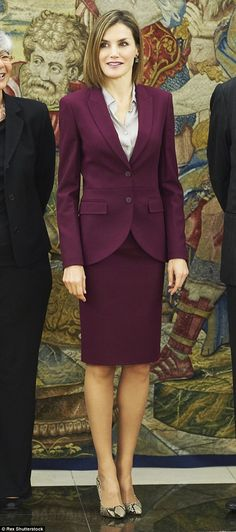 Letizia looked elegant in the recycled skirt suit by one of her favourite designers, Hugo Boss. The separates consisted of the Jamayla blazer and matching Valessima skirt