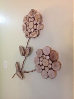 Modern Rustic Wood Slice Flower Wall Art Sculpture by KnottySlices