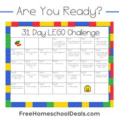 We& back with another LEGO challenge here at Free Homeschool Deals! This LEGO Challenge is perfect for the month of July or August, since it& 1 challe Lego Calendar, Kids Calendar, December Calendar, Lego Activities, Activities For Boys, Nanny Activities, Educational Activities, Summer Activities, Outdoor Activities