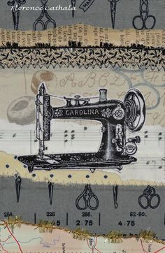 machine a coudre /old map, paper & fabric scrap/ by florence cathala
