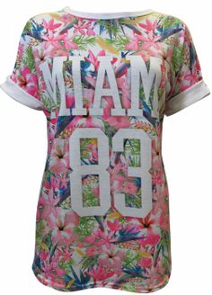 Miami 83 Printed T-shirt- Casual Women Clothing- Love Online Fashion