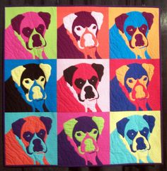 """A Warhol Zakoosa"" by Deborah Yates.  Zakoosa is a boxer dog.  Photo by Louisa Enright.  2014 Houston International Quilt Festival."